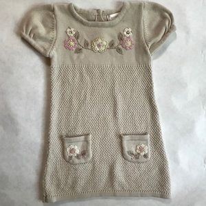 Girl's 2t sweater dress with embroidery detail